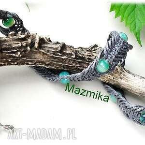 Gray&green-naszyjnik makramowy - Ręczne wykonanie
