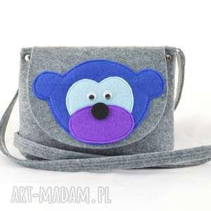 dla dziecka torebka dziecięca - niebieska małpka na szarym, torebka-dla-dziecka