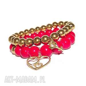 bransoletki komplet jesienny czerwono złoty, róża, kwiat, serce, kamienie