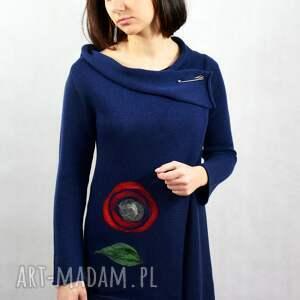asymetryczny bawełniany kardigan z aplikacją wełnianą, sweter rozpinany