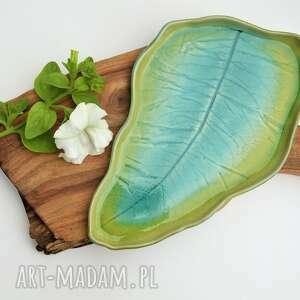 ręcznie zrobione ceramika patera talerz dekoracyjny liść turkusowo