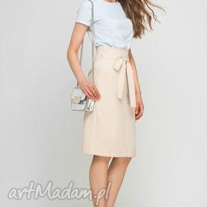 handmade spódnice ołówkowa spódnica z szarfą, sp115 beż