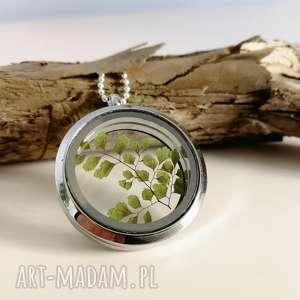 sekretnik z paprotką adiantum, naszyjnik, wisior, paprotki, paproć, las, leśny