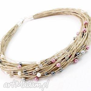 naszyjnik lniany - tali - len, perły