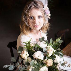 woalka z kwiatami, woalka, kwiaty, ecru, jedwab, ślub