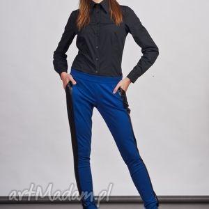 Spodnie, SD102 niebieski, rurki, legginsy, lampasy, skóra, kieszenie