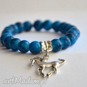 bransoletki bracelet by sis niebieskie mozaikowe korale, charms, nibieski