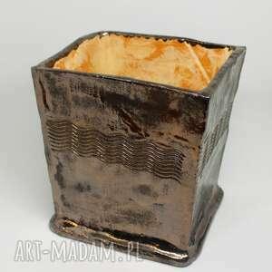 duża donica złoto czarna ceramiczny prezent ozdoba handmade rękodzieło