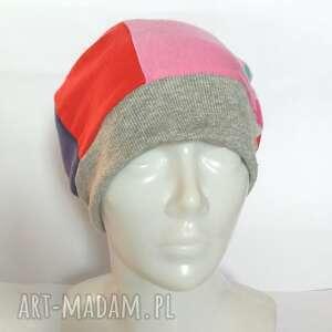 hand-made czapki czapka patchworkowa na podszewce, rozmiar uniwersalny, smerfetka