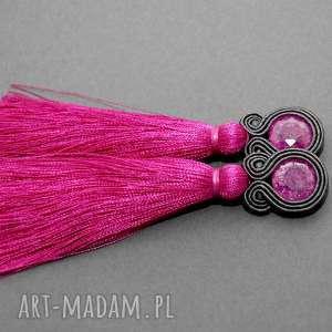 klipsy sutasz z chwostami, sznurek, eleganckie, wiszące, wieczorowe, długie