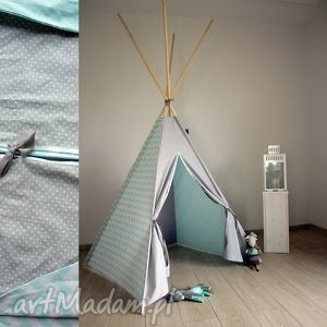TeePee szaro-miętowe, tipi, wigwam, zabawka, edukacyjna, bawełna, namiot