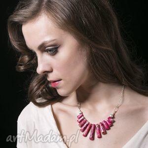 różowy pióropusz naszyjnik - biżuteria, kobiecy, srebro