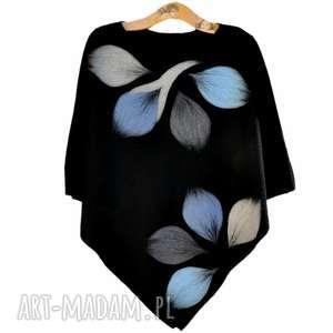 hand-made poncho ponczo niebieskie liście