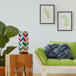 oryginalna lampa stojąca happy, retro, vintage, drewno, bawełna, design