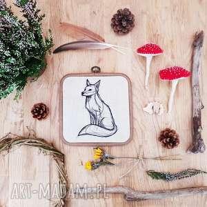 obrazek haftowany lis - ,lis,las,góry,obrazek,haft,len,