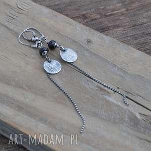 kolczyki czarny spinel długie srebrne kolczyki