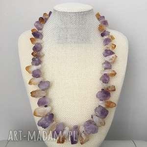 naszyjnik naturalny ametyst i cytryn - ametyst, cytryn, naszyjnik, kamienie, biżuteria