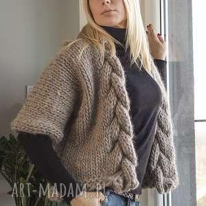 święta, swetry wełniany warkocz, wełna, sweter, niezapinany, beżowy