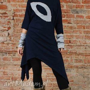 handmade sukienki asymetric navy blue