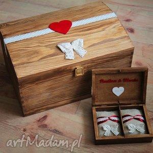 Zestaw drewnianych pudełek - na koperty i obrączki, ślub, skrzynia, pudełko, drewno