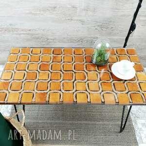 stolik kawowy z liną kręconą - marynarski, kawowy, żywica epoksydowa