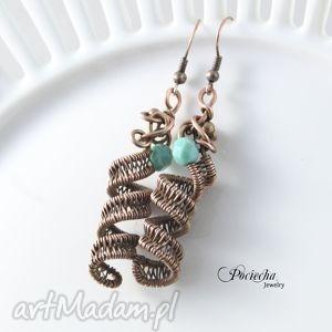 swirl - kolczyki sprężynki, kolczyki, miedź, retro, szkło, prezent
