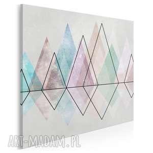 obraz na płótnie - diamenty pastele trójkąty geometryczny w kwadracie 80x80