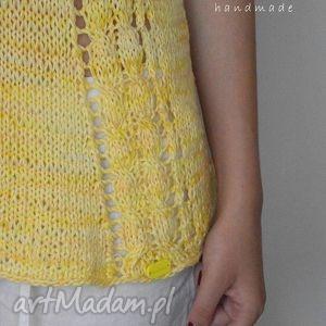 bluzka, żółta, prezent, na drutach