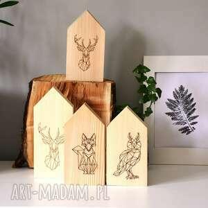 dekoracje domki z leśnymi zwierzątkami, zwierzątka, domki, domek, skandynawski