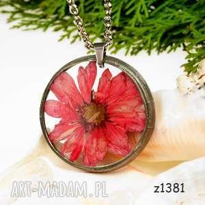 naszyjnik z suszonymi kwiatami herbarium, biżuteria z żywicy z1381 - naszyjnik z