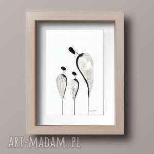 obrazek A4 namalowany ręcznie, minimalizm, abstrakcja czarno-biała, minimalizm