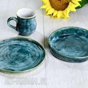 ceramiczny zestaw 2 talerze /buddha bowl / i kubek - morska piana, buddha