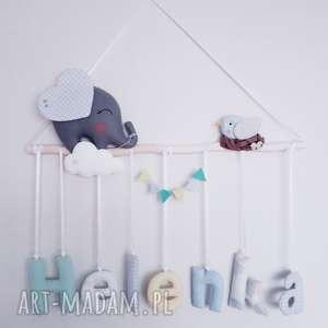 personalizowana dekoracja dla dziecka, dekoracja, filc, słoń, girlanda