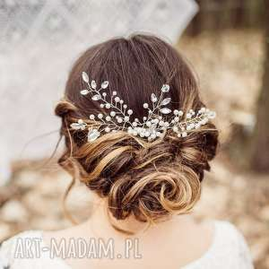 Zjawiskowa aplikacja ozdoba ślubna grzebyk do włosów FIRELLA firmy LAURIS, fryzura