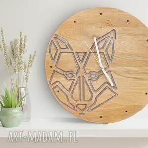 handmade zegary zegar ścienny z drewna dębowego, żywica, wilk, prezent