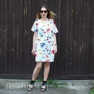 Luźna sukienka z kieszeniami w polne kwiaty, sukienka, kieszenie, lalu, luźna