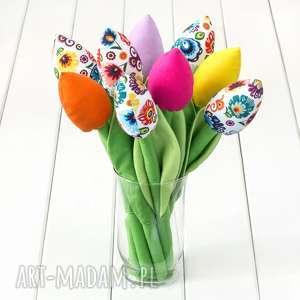 tulipany kolorowy bawełniany bukiet, łowicki na białym tle, tulipany, kwiaty