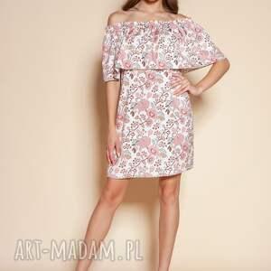 sukienki krótka sukienka hiszpanka - suk201 różowy wzór
