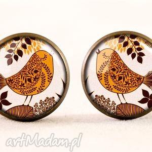 ręcznie robione kolczyki retro ptaszki - kolczyki wkrętki