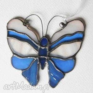 witraże moty ultraniebieski 1, witraż, motyl, szkło, zawieszka