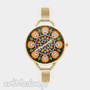 Prezent Zegarek z grafiką ŁOWICKI , folk, ludowy, wzór, prezent, dla, niej
