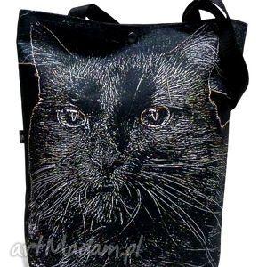 handmade na ramię torba na napę z kotem