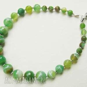 p - zielony z kamieni naturalnych - agat, zielony, naszyjnik, korale, naturalne