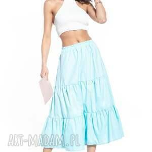 hand-made spódnice spódnica maxi z dwoma falbanami, t339, jasnoniebieska