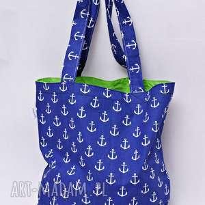 Torba na zakupy ekologiczna Shopperka kotwice niebieskie, torba, torba-na-zakupy