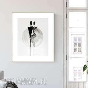 grafika 40x50 cm wykonana ręcznie, abstrakcja, elegancki minimalizm, obraz do salonu