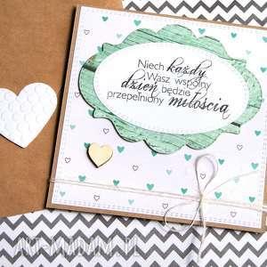 kartka ślubna :: handmade green hearts, ślub