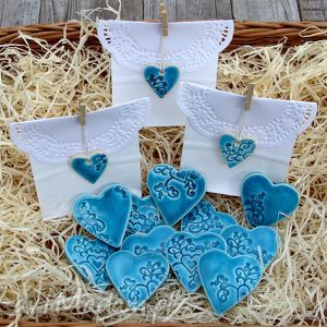 hand made ślub ceramiczne serduszka na magnes - podziękowania dla gości
