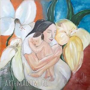 Dzień matki macierzyństwo obraz olejny 60x60 cm płótno grot aga