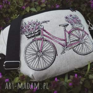 nerka xxl rower, lniana torebka, haft, kwiaty, len, saszetka nerki